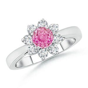 Pink sapphire and round diamonds 3.60 ct wedding
